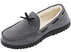 rockdove-memory-foam-faux-wool-moccasin-slippers